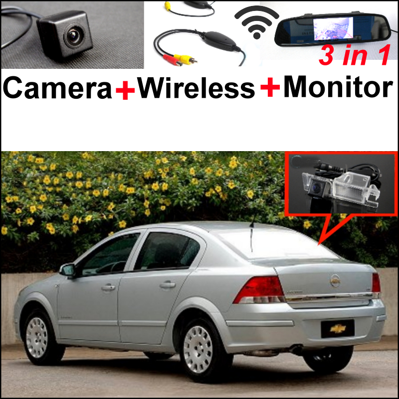 3 in1 Special WiFi Camera + Wireless Receiver + Mirror Monitor DIY Parking System For Chevrolet Astra Corsa Vectra Viva Zafira wireless pager system 433 92mhz wireless restaurant table buzzer with monitor and watch receiver 3 display 42 call button