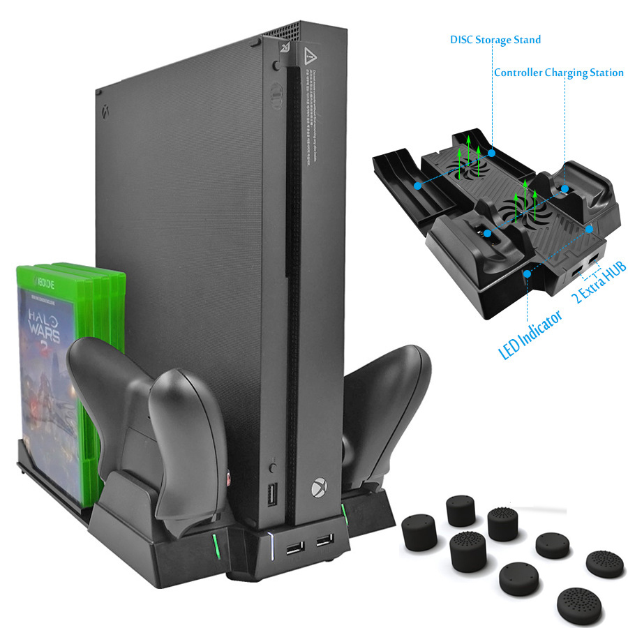 For Xbox one X ONEX Game Console Vertical Cooling Stand Cooler Fan Controller Charger wi ...