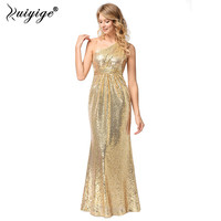 Ruiyige Women Sexy Sequined Dress Solid One Shoulder 2018 Zipper Back Trumpet Long Maxi DressesParty Evening