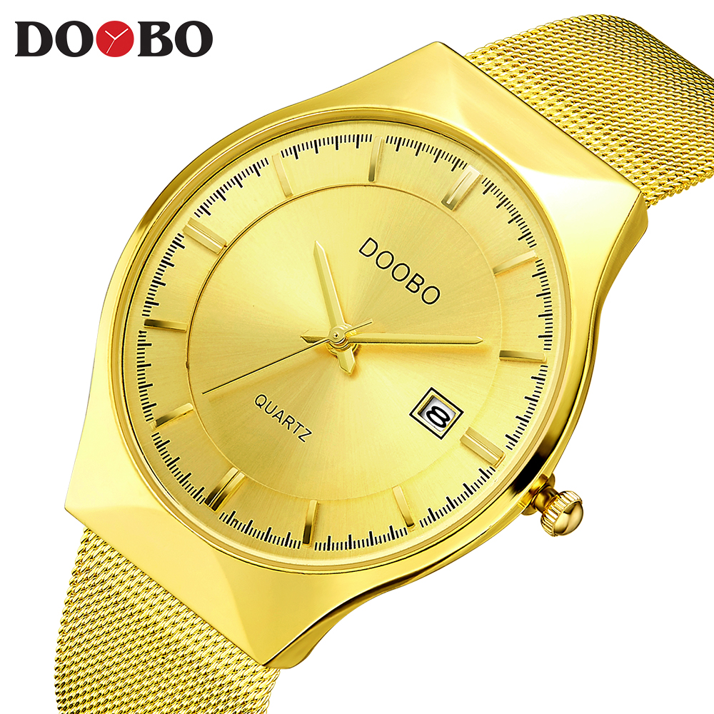 DOOBO Luxury Brand Quartz Watch Men's Gold Casual Business Stainless Steel Mesh band Quartz-Watch Fashion Thin Clock male D035