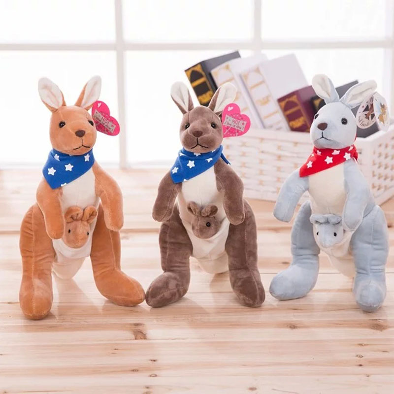 Kangaroo Plush Toy Mom and Baby Stuffed Doll Cute Simulation Animal Doll Kids Toys Best Gift For Children cute tiger stuffed plush simulation animal doll small teddy dog rabbit mini pelucias kids toy baby knuffel toys for girls 60g501