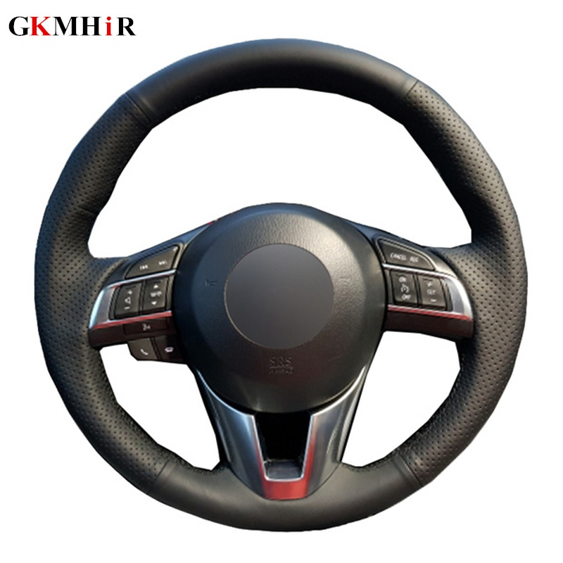 черный мягкой искусственной кожи рулевого колеса автомобиля Обложка для Mazda CX-5 CX5 Atenza Новинка 2014 года Mazda 3 CX-3 2016 Scion iA 2016