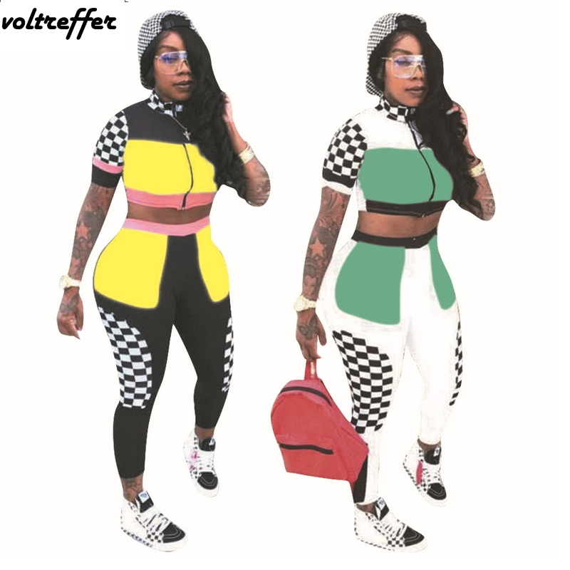 Hot Sale Tracksuit For Women Short Sleeve Crop Top And Pants Suits