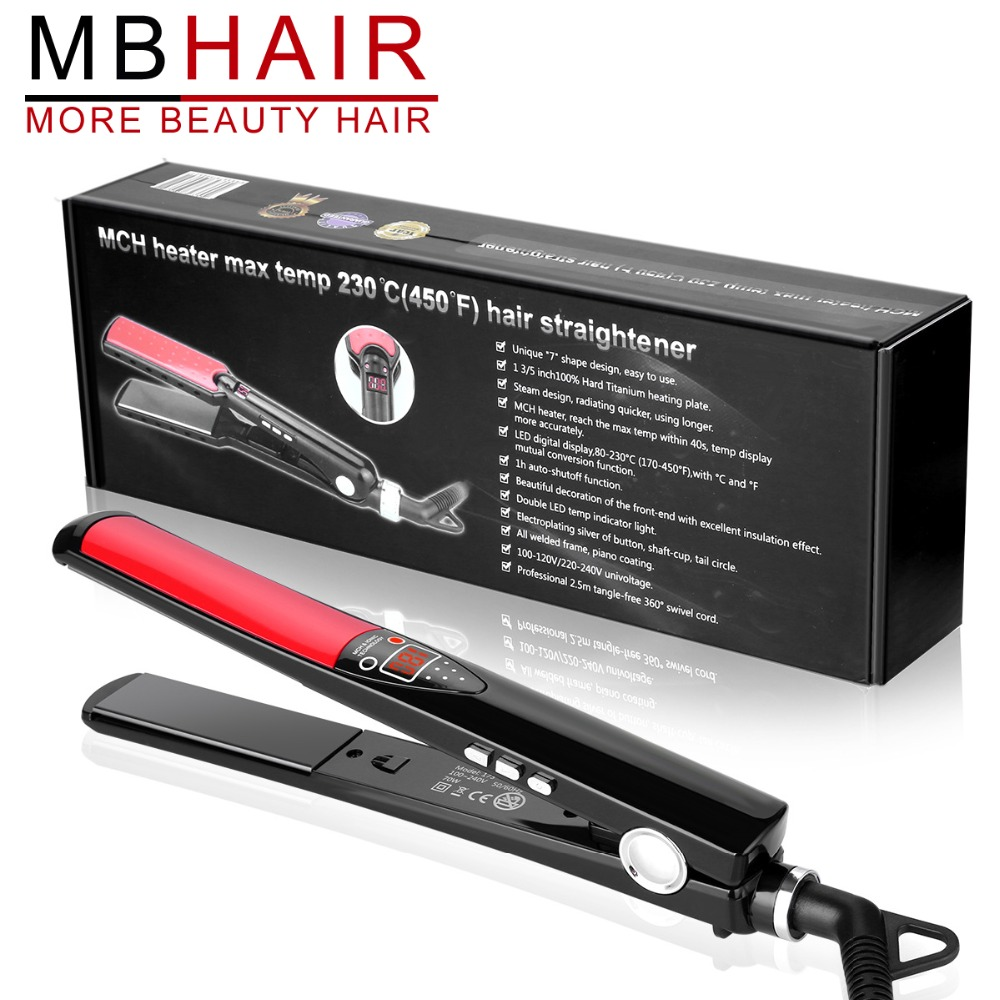 MBHAIR LCD Display Titanium plates Flat Iron Straightening Irons Styling Tools Professional Hair Straightener Free Shipping