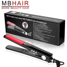 MBHAIR LCD Display Titanium plates Flat Iron Straightening Irons Styling Tools Professional