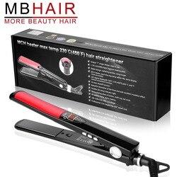 Mbhair display lcd placas de titânio ferro liso alisamento ferros ferramentas estilo profissional alisador cabelo frete grátis