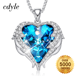 Cdyle Women Necklace & Pendant Crystals from Swarovski Ocean Heart Necklace Luxury Jewelry Purple Blue Yellow Can Mix Color 5PCS
