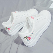цена на Spring new casual wild embroidery small white shoes female tide low to help tie students sneakers women's shoes
