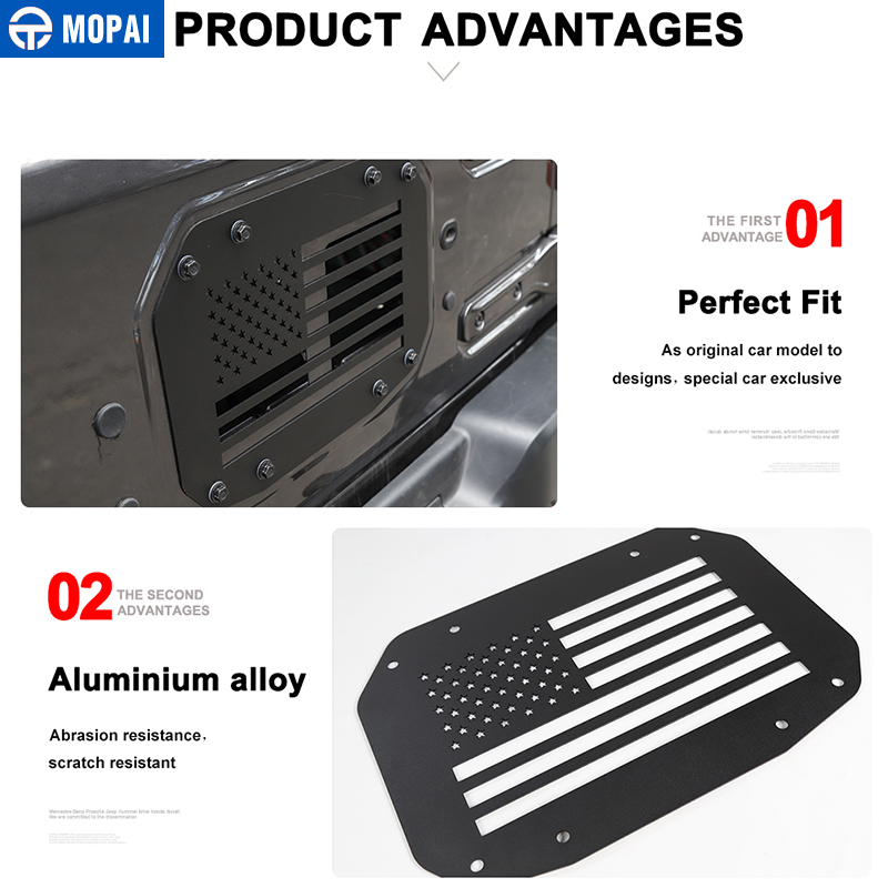 Image 4 - MOPAI Car Styling Mouldings for Jeep Wrangler JL 20118 Car Tailgate Exhaust Air Vent Cover for Jeep JL Wrangler Accessories-in Styling Mouldings from Automobiles & Motorcycles