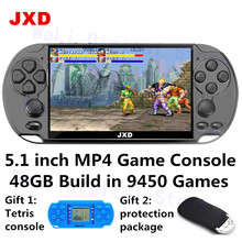 New JXD 5.1 inch video game console 48GB build in 9450 games for aracde neogeo/cps/gba/gbc/gb/snes/nes/smd mp3mp4 player DV/DC