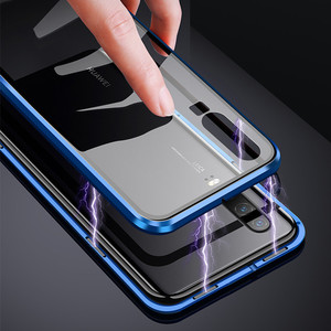 Image 3 - Luxury Double Sided Front Back Clear Glass Metal Magnetic Case For Samsung Galaxy A7 A8 A9 2018 A50 360 Degree Full Cover Cases
