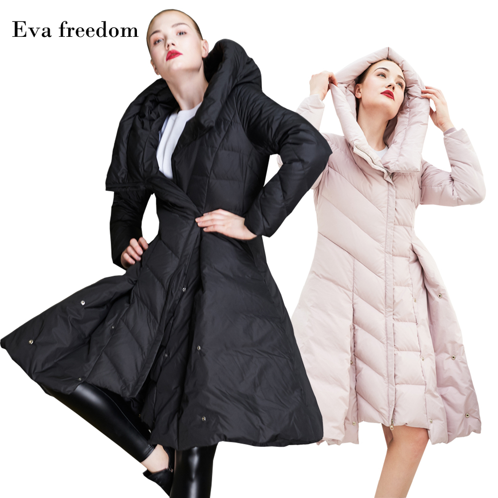 Eva Freedom New Hot Sale Winter Slim Skirt Pendulum Down Jacket Women's Fashion Winter Hooded Down Jacket For Women Winter 2018