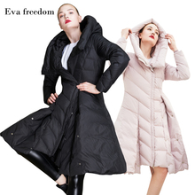 Eva freedom new hot sale winter slim skirt pendulum down jacket womens fashion hooded for women 2018