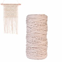 Beige DIY Handmade Cotton Tying Thread Cord Rope 3 mm/ 0.12 Inch Diameter 200 m/218.72 yd. Length thick yarn for knitting
