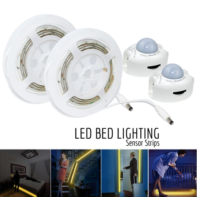 Flexible LED Strip Motion Sensor Night Light Bedside Lamp Illumination & Automatic Shut Off Timer Part Bar Decoration(EU Plug) for dual motion activated bed light flexible led strip sensor night with automatic shut off timer promotion