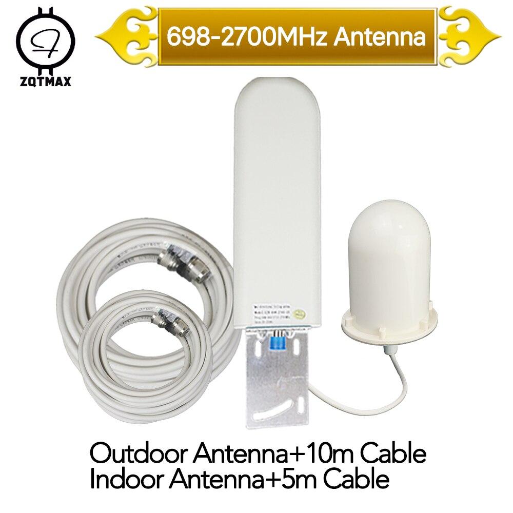 ZQTMAX 2g 3g 4g antenne extérieure + antenne Onmi pour téléphone portable amplificateur de Signal cellulaire 900 1800 2100 2600 lte répéteur de signal
