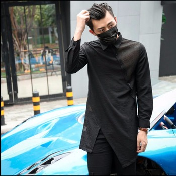 2020 Men New Hairstylist Personality Black Long-sleeve Shirt Slim Medium-long Casual Shirt Irregular Cut Male Singer Costumes
