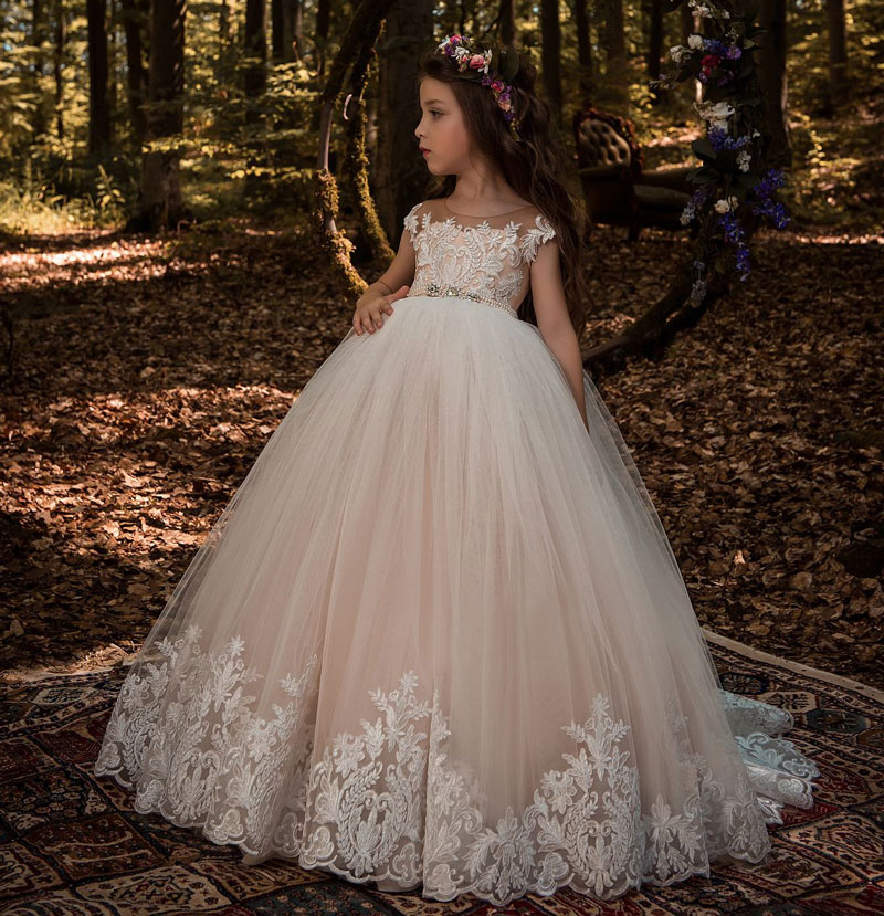 Beautiful Lace Floral Appliques Cap Sleeves Flower Girl Dress V Back Style Champagne Kids Tulle Pageant Ball Gown for Prom Party gorgeous lace beading sequins sleeveless flower girl dress champagne lace up keyhole back kids tulle pageant ball gowns for prom
