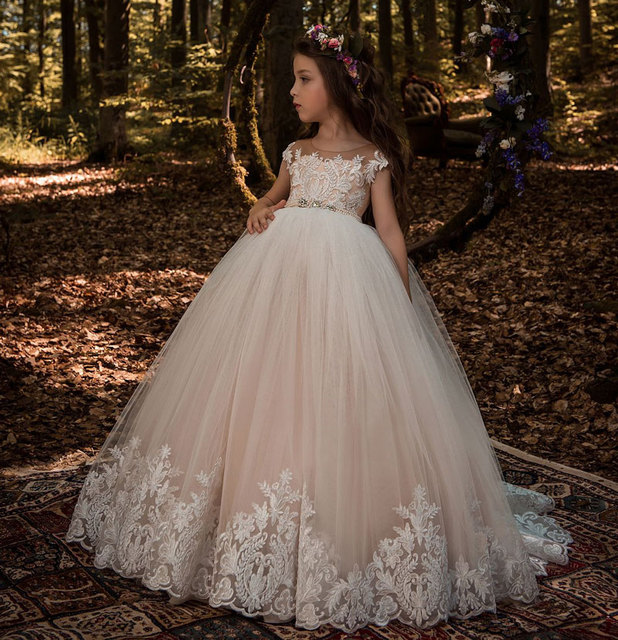 1f03f912c2b Beautiful Lace Floral Appliques Cap Sleeves Flower Girl Dress V Back Style  Champagne Kids Tulle Pageant Ball Gown for Prom Party