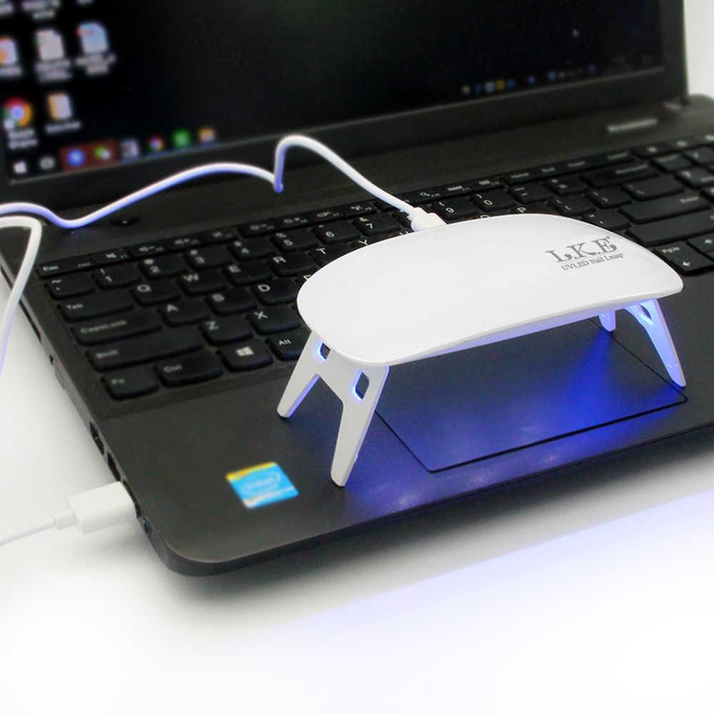 LKE LED tırnak kurutucu 12W beyaz taşınabilir Mini tırnak USB kablosu lamba UV lamba kür UV jel oje manikür Salon aracı