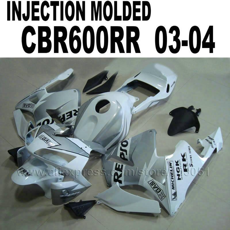 motor Injection fairings kit for Honda repsol 2003 CBR 600 RR 2004 CBR600RR 03 04 cbr600 white silver fairing kits