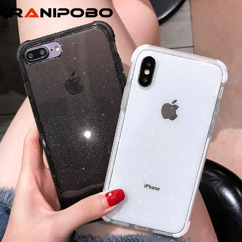Shining Glitter Powder diamond Phone Case For iPhone X XR XS Max 8 7 Plus 6 6SPlus Transparent Soft Shockproof Back Cover