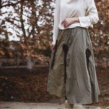 Johnature 2018 New Autumn Women Lady Cotton Linen Maxi Skirt Washing Floral Appliques Irregular Flower Long Skirt
