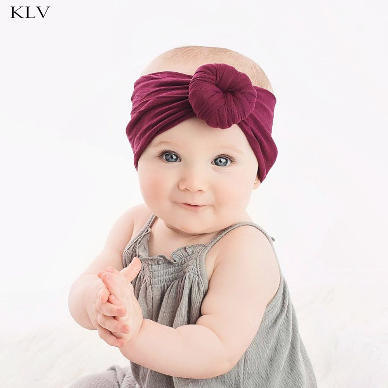Newborn Baby Girls Wide Nylon Bow Headband Super Soft Knot Bow Nylon Head Wraps