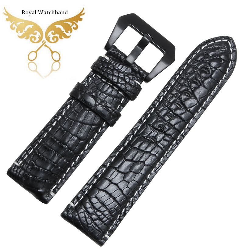 22mm 24mm New Men`s Black White Stitching Real Crocodile Genuine Leather Watch Band Strap Bracelets Dpolyment Buckle new fashion replace watch band 22mm 24mm mens womens dark blue 100% genuine crocodile grain leather watch strap band bracelets