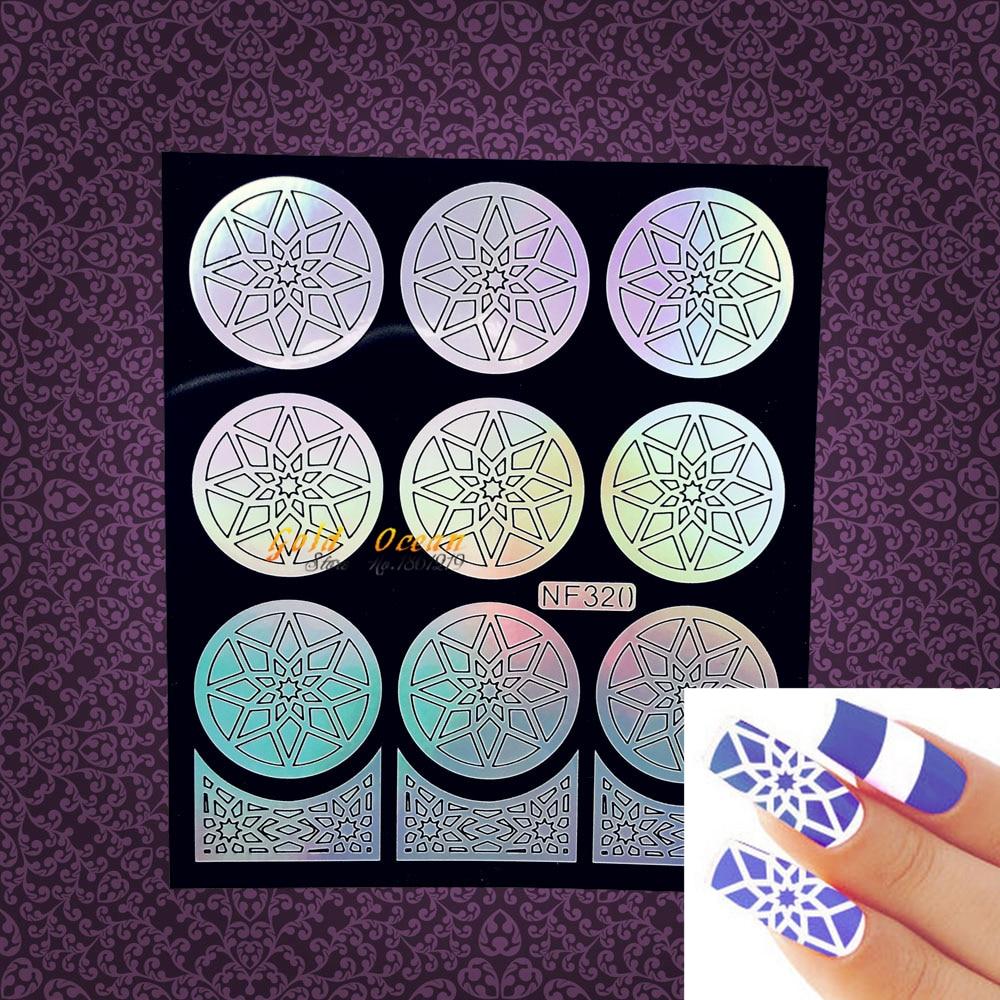 ④Flash Star Hollow nail pegatina plantilla vinilos de uñas foil ...