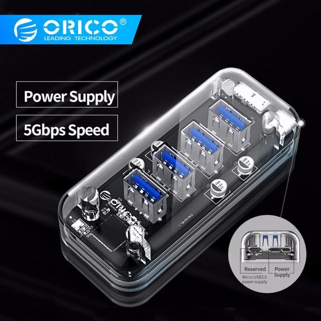 ORICO 4 Порты USB3.0 прозрачный концентратор высокой Скорость с Micro USB Мощность Интерфейс USB Подставка для концентратора OTG для Mac/Windows/Linux HUB 3,0