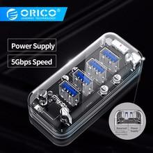 ORICO 4 Ports USB3.0 Transparent HUB High Speed With Micro USB Power Interface USB HUB Support OTG For Mac/Windows/Linux HUB 3.0 цена 2017