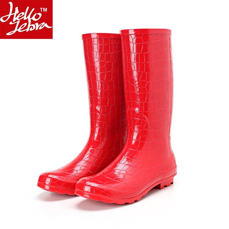 все цены на Hellozebra Knee High Rain Boots Women's Fashion Red Crocodile Pattern Motorcycle Rubber Girl Ladies Sexy Long Waterproof Shoes онлайн