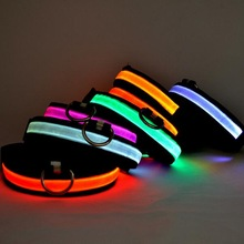 Nylon Dog Collar Flash Night Safety LED Glow Dog Harness Pet