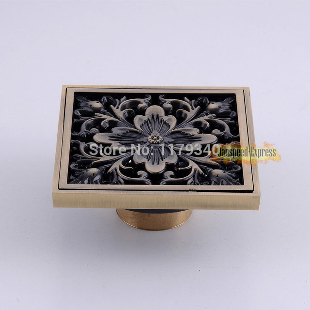 European Carved Flower Carving 3 Inches Bathroom Copper Floor Drain ...