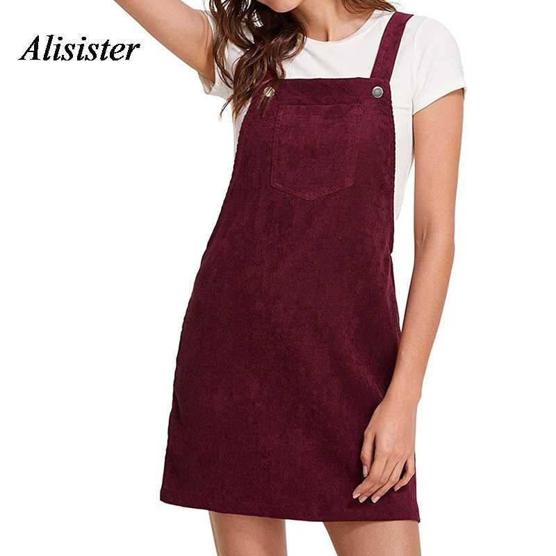8e50ded2543 Autumn Women Corduroy Sundress Mini Solid Ladies Sleeveless Casual Suspender  Sarafan Dresses Female Overalls A Line