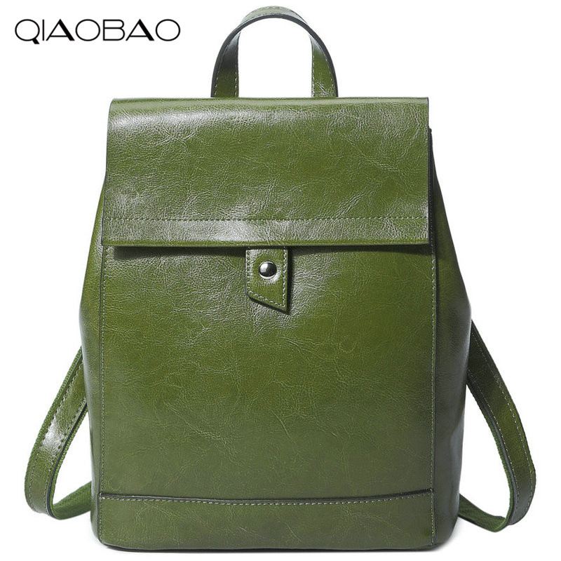 QIAOBAO 2018 100% Real Genuine Leather Women Backpack Woman Korean Style Ladies Strap Laptop Bag Daily Backpack Girl School qiaobao 100% genuine leather handbags new network of red explosion ladle ladies bag fashion trend ladies bag