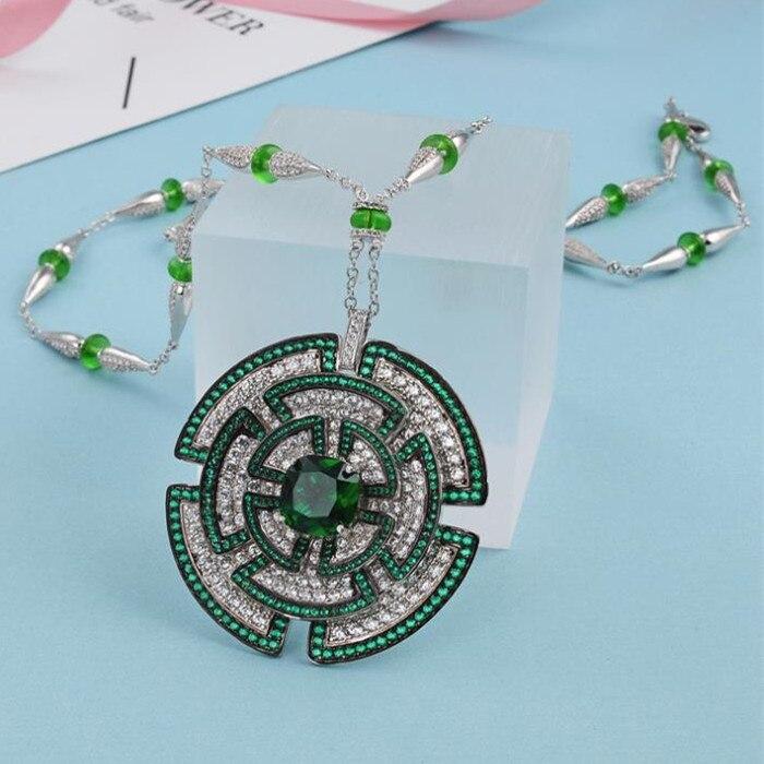Projektant mody miedzi biżuteria 3A naszyjnik z cyrkoniami w Naszyjnik z wisiorkiem od Biżuteria i akcesoria na  Grupa 2