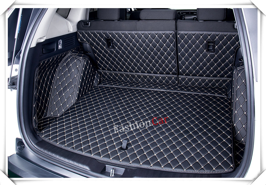 For HONDA for CRV 2017 2018 Rear Trunk Mats car styling accessories (Black color with beige thread) Boot matsFor HONDA for CRV 2017 2018 Rear Trunk Mats car styling accessories (Black color with beige thread) Boot mats