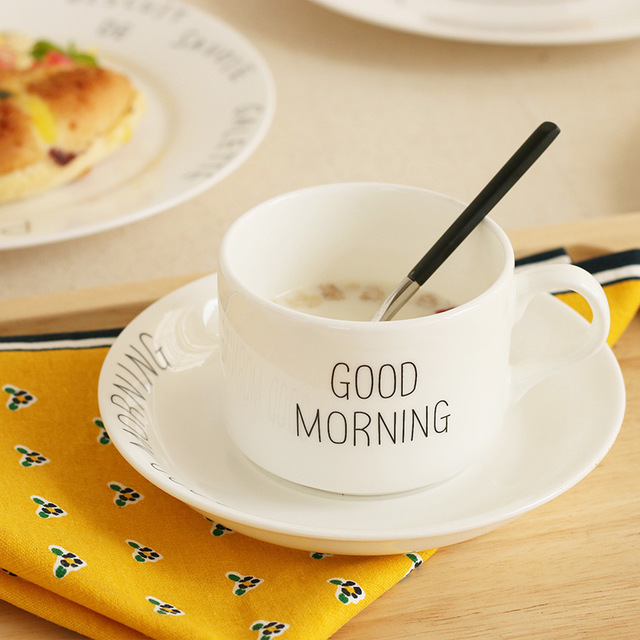 Good Morning Too In Chinese : Aliexpress buy good morning mug with tray bone china