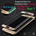 3D Curved Full Cover Tempered Glass Screen Protector For Samsung Galaxy S6 Edge Plus S7 Edge G9350 Note 7 Protective Film