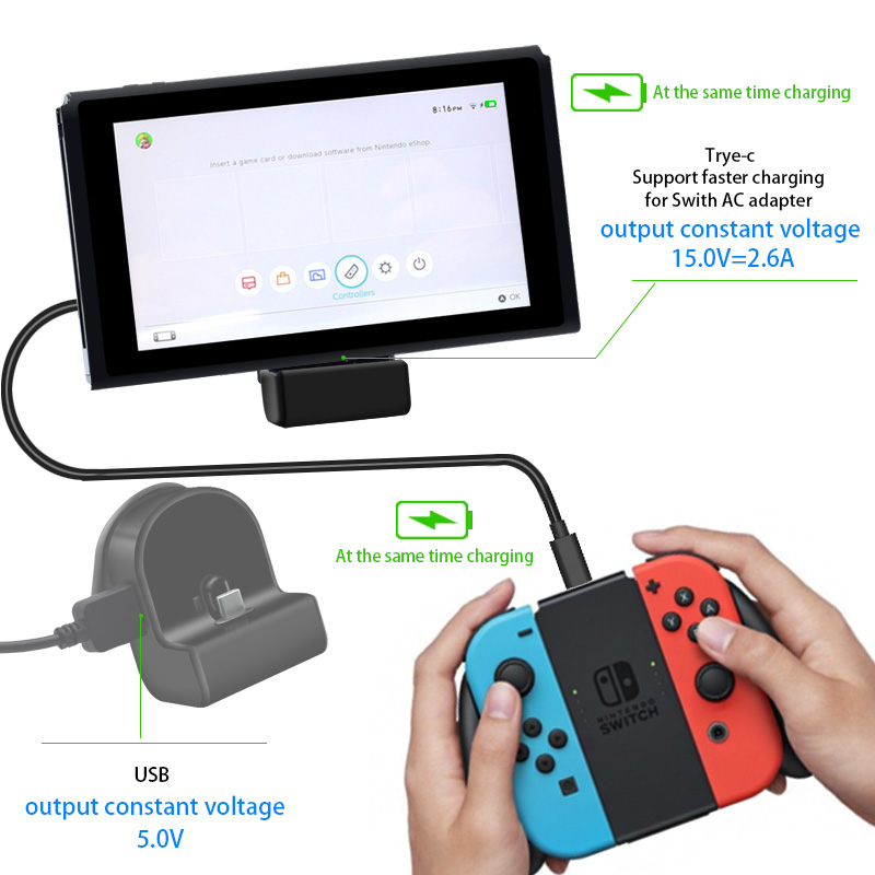 Fast Charging Dock Station Back Stand Holder Charger Power Supply For Nintend Switch NS Console Games Play With Type-C USB Port