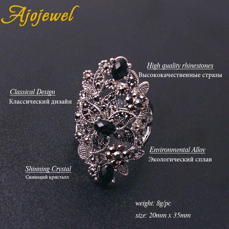 Image 3 - Ajojewel Brand Vintage Jewelry Sets For Women Black Crystal Hollow Flower Necklace Earrings Ring JewerlyJewelry Sets   -