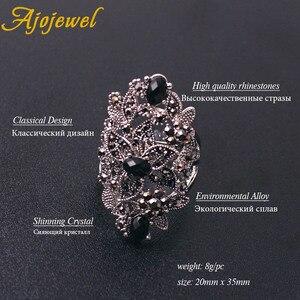 Image 3 - Ajojewel Juego de joyas Vintage para mujer, collar de flores huecas de cristal negro, pendientes, anillo, joyería