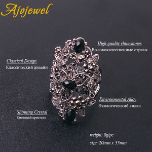 Image 3 - Ajojewel Merk Vintage Sieraden Sets Voor Vrouwen Black Crystal Hollow Bloem Ketting Oorbellen Ring Jewerly