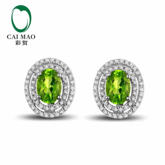 CaiMao 18KT/750 or blanc 1.78 ct péridot vert naturel et 0.42 ct bijoux de boucles d'oreilles en pierres précieuses de fiançailles