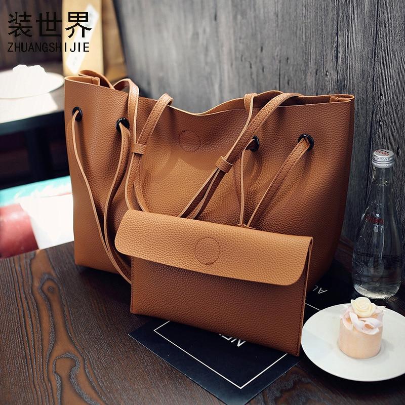 2 Set Women Composite Bag High Quality Pu Leather Shoulder Bag Large Capacity Tote Bags For Women Handbags Bolsa Feminina BB092