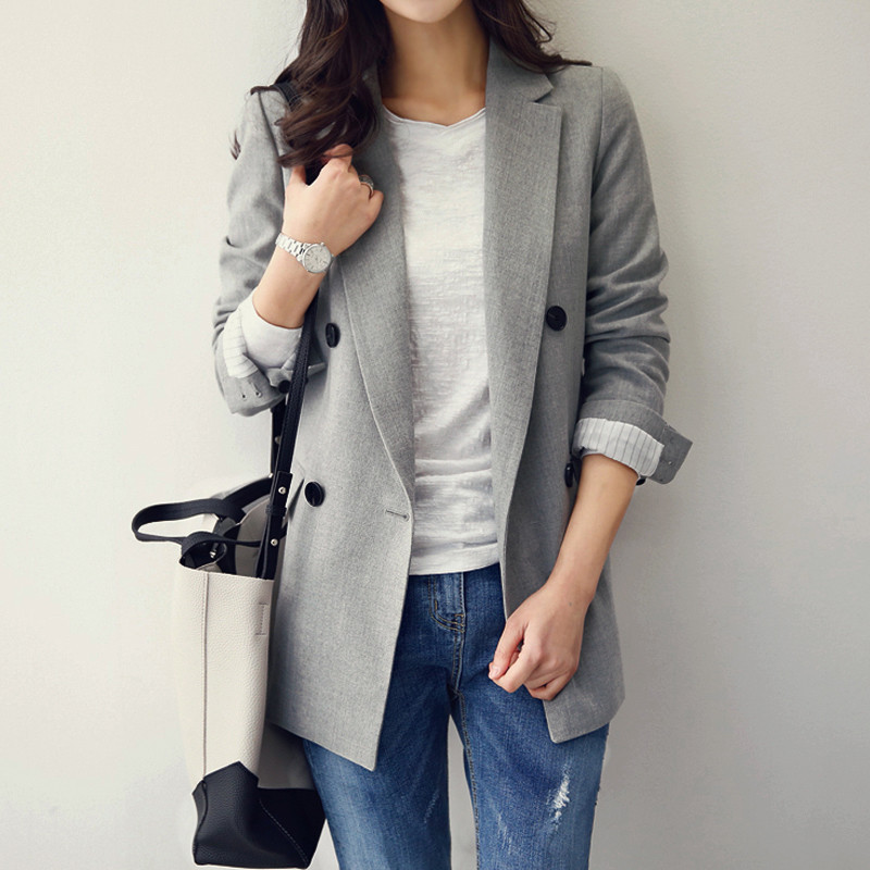 2020 Spring Autumn Blazers Jackets New Korean Fashion Double-breasted Small Suit Jacket Women Loose Casual Blazers Coats X434