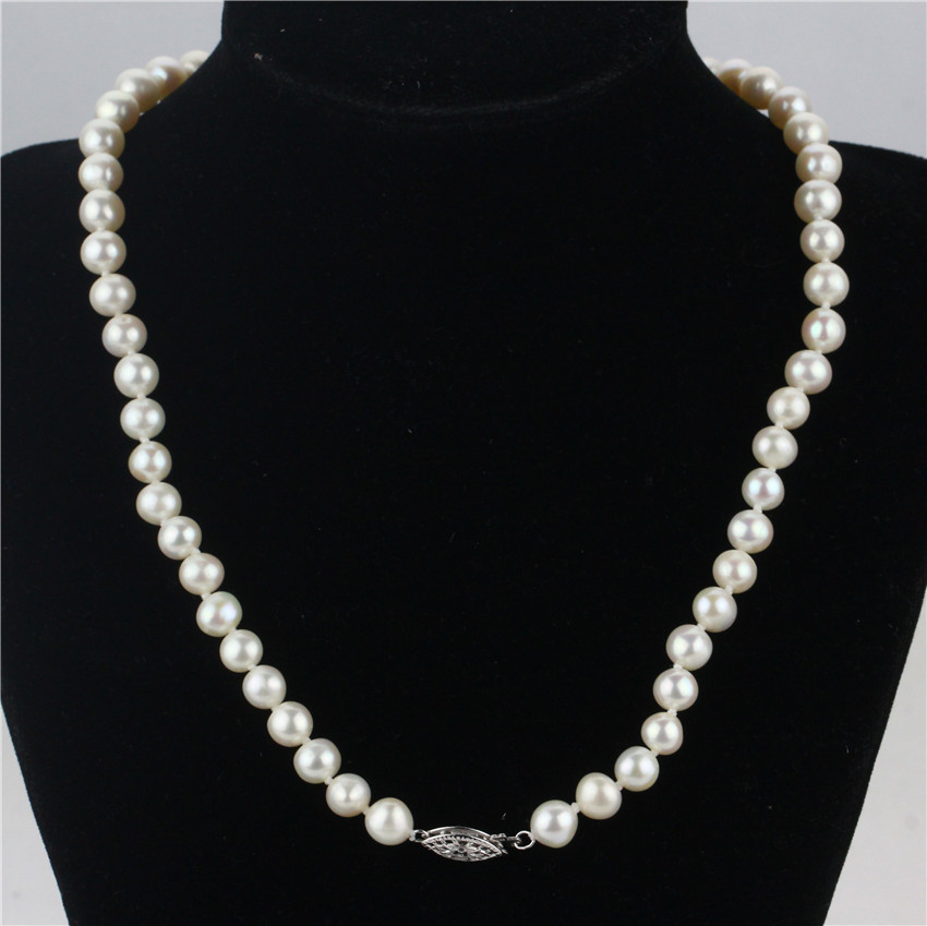 SNH 100% real genuine cultured 7mm round natural freshwater pearl necklace for women pearl jewelry 925 sterling silver gifts