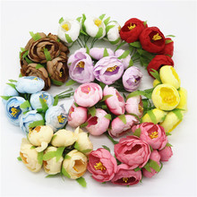 30/60/90PCS Artificial Silk Flowers Heads Fake Camellia As DIY Craft Supplies of Wreath Wedding Decoration Flores Artificiais